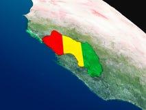 Флаг Гвинеи от космоса Стоковые Изображения