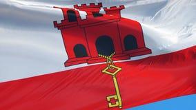 Флаг Гибралтара в замедленном движении плавно закрепил петлей с альфой видеоматериал