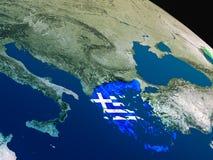 Флаг Греции от космоса Стоковое Изображение