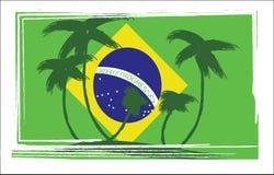 Флаг дизайна Бразилии с пальмами нарисованными рукой иллюстрация вектора