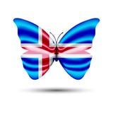 Флаг Исландия бабочки Стоковые Фотографии RF