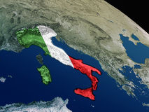 Флаг Италии от космоса Стоковые Изображения