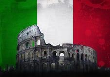 Флаг Италия Colosseum Рима Стоковая Фотография RF