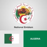 Флаг и герб Алжира Стоковое Изображение RF