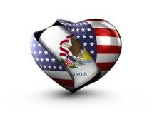 Флаг Иллинойса положения США на белой предпосылке Стоковое Изображение RF