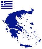 Флаг и карта Греции Стоковые Изображения