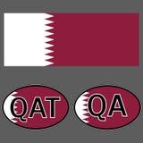 Флаг и стикер Катара на автомобиле с QA и QAT акронима иллюстрация вектора
