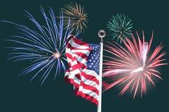 Флаг и фейерверки США Стоковые Фото