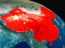 Флаг Китая от космоса Стоковое Фото