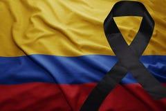 Флаг Колумбии с черной оплакивая лентой Стоковое Изображение RF