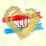 Флаг Люксембурга на сердце grunge бесплатная иллюстрация
