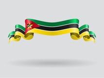 Флаг Мозамбика волнистый также вектор иллюстрации притяжки corel Стоковое Изображение RF