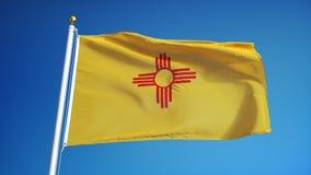 Флаг Неш-Мексико в замедленном движении плавно закрепил петлей с альфой иллюстрация вектора