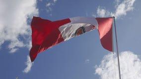 Флаг Перу развевая против голубого неба сток-видео