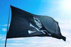 Флаг пиратского корабля Стоковые Изображения RF