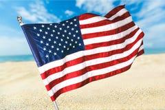 Флаг пляжа американский Стоковое Фото