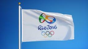 Флаг Рио 2016 олимпийский в замедленном движении плавно закрепил петлей с альфой бесплатная иллюстрация