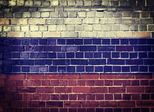Флаг России Grunge на кирпичной стене Стоковые Фото