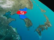 Флаг Северной Кореи от космоса Стоковые Фото