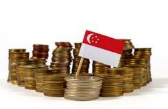 Флаг Сингапура с стогом монеток денег Стоковая Фотография RF