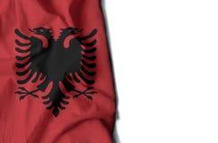 флаг сморщенный албанцем, космос для текста Стоковые Фотографии RF