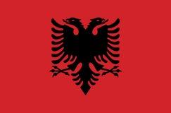 Флаг суверенного государства страны Албании в официальных цветах Стоковое Изображение