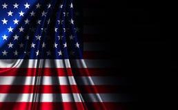 Флаг США американца текстуры ткани, на черной noir предпосылке стоковое фото rf