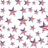 Флаг США играет главные роли безшовная картина Предпосылка вектора Стоковое Изображение