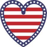 Флаг США формы сердца иллюстрация штока