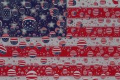 Флаг США через капельки воды Стоковая Фотография