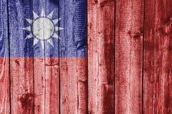 Флаг Тайваня на выдержанной древесине Стоковые Изображения RF