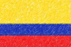 Флаг текстуры предпосылки o Колумбии, влияния карандаша цвета Стоковая Фотография RF