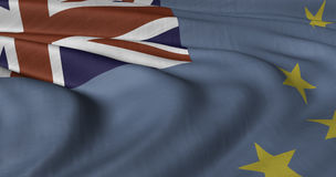 Флаг Тувалу порхая в легком бризе Стоковое Изображение RF