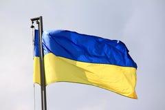 Флаг Украины развевая на ветре Стоковое фото RF