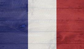 Флаг Франции на деревянных досках с ногтями Стоковые Изображения