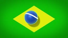 Флаг футбола Бразилии сток-видео