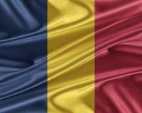 Флаг Чада с лоснистой silk текстурой Стоковое Изображение RF
