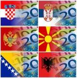 Флаг Черногории Албании македонии Сербии Хорватии с bankn евро Стоковые Фото