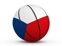 Флаг чехии шарика баскетбола Стоковые Изображения
