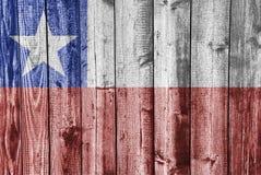 Флаг Чили на выдержанной древесине Стоковое Фото