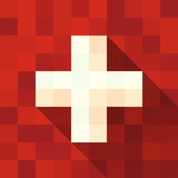 Флаг Швейцарии с крестом Стоковая Фотография