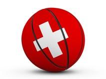 Флаг Швейцарии шарика баскетбола Стоковое Фото