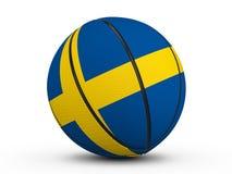 Флаг Швеции шарика баскетбола Стоковое Изображение RF