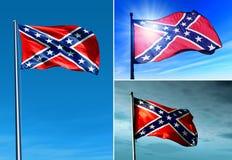 Флаг Confederate развевая на ветре Стоковые Фотографии RF
