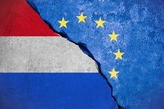 Флаг EC Европейского союза Nexit голубой на сломленной стене и половинный нидерландский флаг, голосование для выхода Голландии ре Стоковые Фото