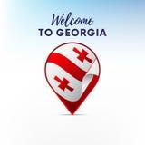 Флаг Georgia в форме указателя или отметки карты Georgia, котор нужно приветствовать вектор иллюстрация штока