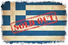 Флаг Grunge Греции с памятником Стоковые Изображения