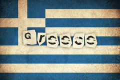 Флаг Grunge Греции с текстом Стоковое Изображение