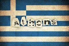 Флаг Grunge Греции с текстом Стоковая Фотография