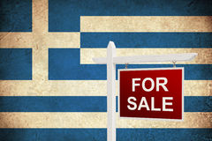 Флаг Grunge Греции для продажи Стоковые Изображения RF